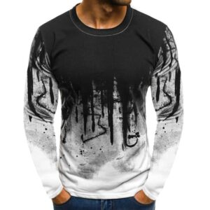 Printed Male T Shirt Long Sleeve Fitness Streetwear